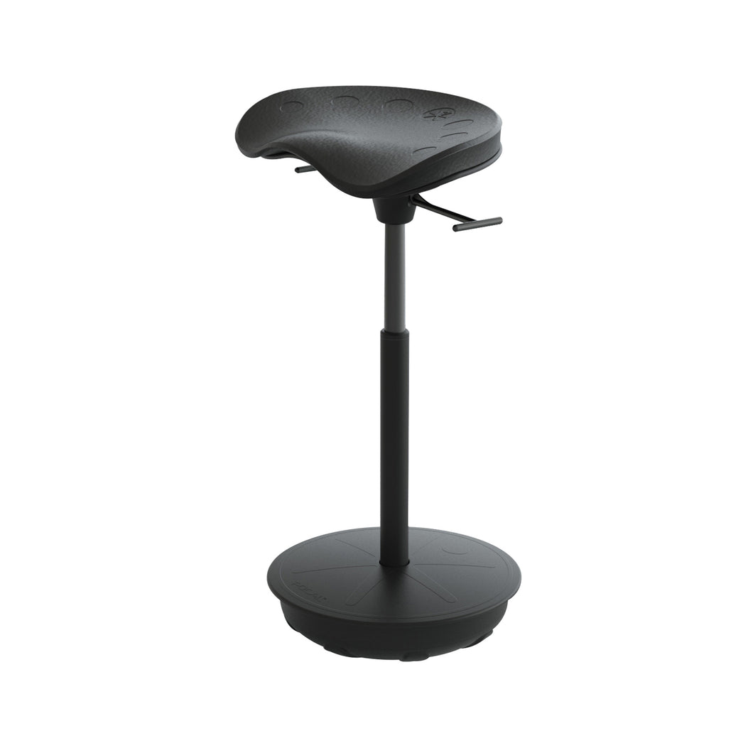 Cushioned Leaning Chair in Black with Pivot Base