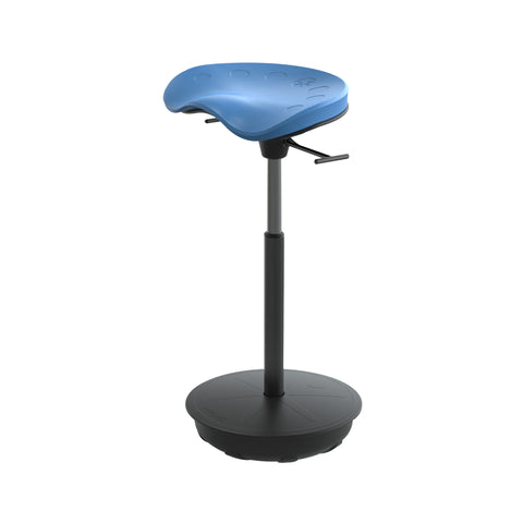 Cushioned Leaning Chair in Blue with Pivot Base