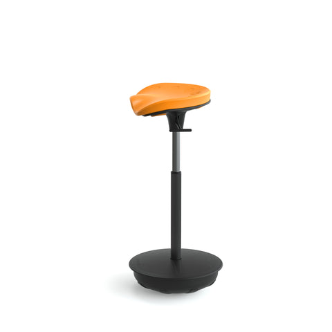 Cushioned Leaning Chair in Citrus with Pivot Base