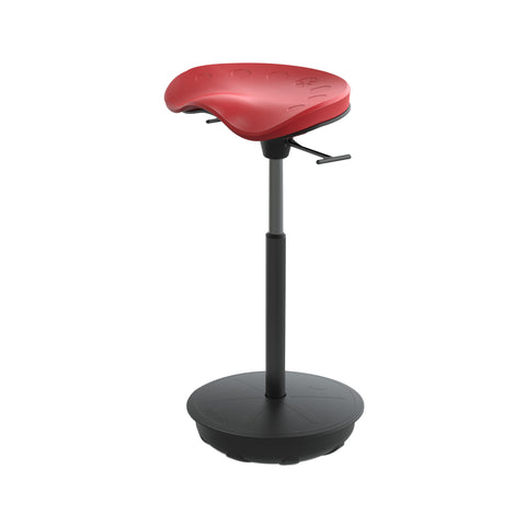 Cushioned Leaning Chair in Red with Pivot Base