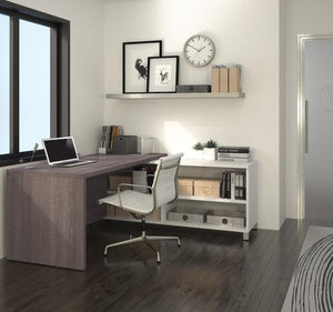 Modern Bark Grey and White L-Shaped Office Desk with Built-In Shelves