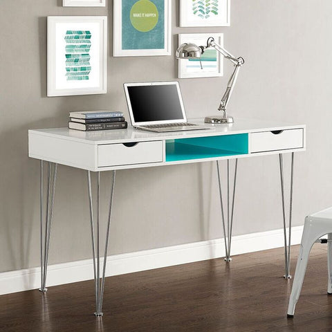 "48"" Modern White & Aqua Blue Office Desk"