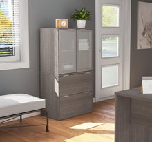 Load image into Gallery viewer, Modern File Cabinet with Hutch in Bark Grey