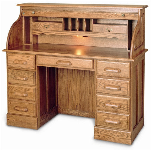 Solid Wood Double Pedestal Rolltop Executive Desk With