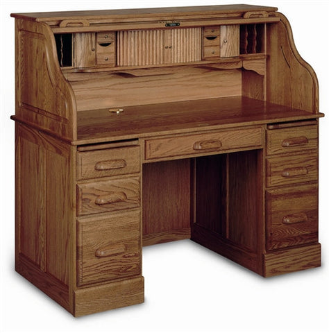 Rolltop Solid Oak Double Pedestal Desk with Locking Tambour