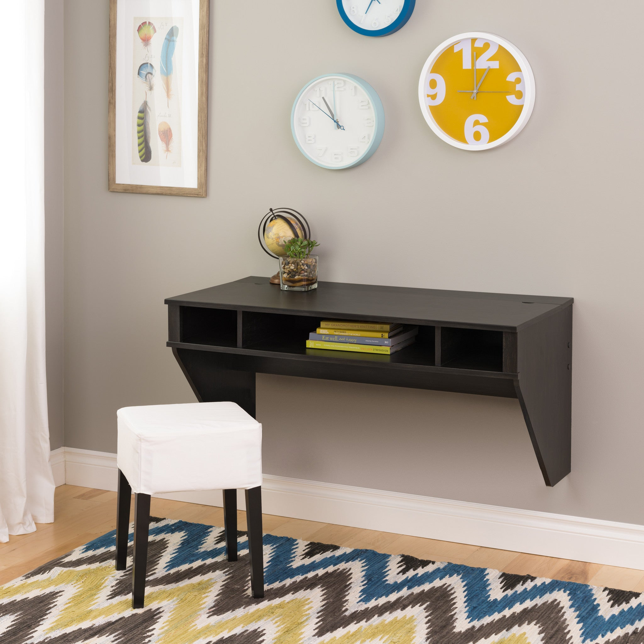 Modern Washed Ebony Floating Wall Mounted Desk