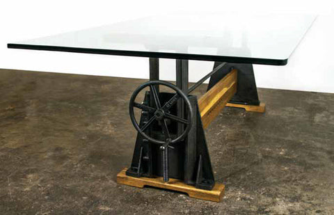 "Modern 94"" Conference Table with Glass Top & Cast Iron Crank Wheel for Height Adjustment"