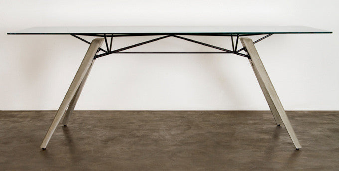 "Modern Clear Glass Conference Table with Concrete Legs (78"" or 94"" Top)"