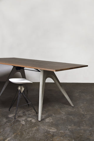 Extra Tall Desk or Conference Table with Seared Oak Top & Concrete Legs