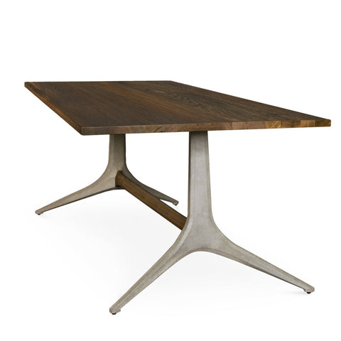 "110"" Industrial Conference Table of Smoked Oak & Concrete"