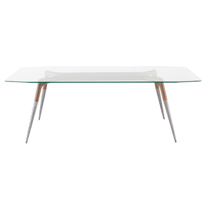 "86"" Executive Desk or Meeting Table w/ Clear Glass Top & Silver Tapered Legs"