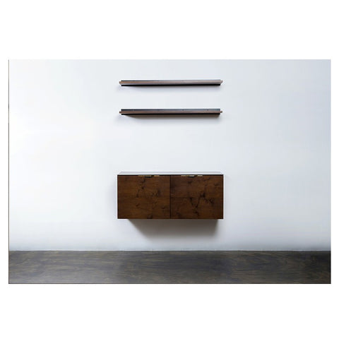 Smoked Oak & Steel Storage Credenza That Floats