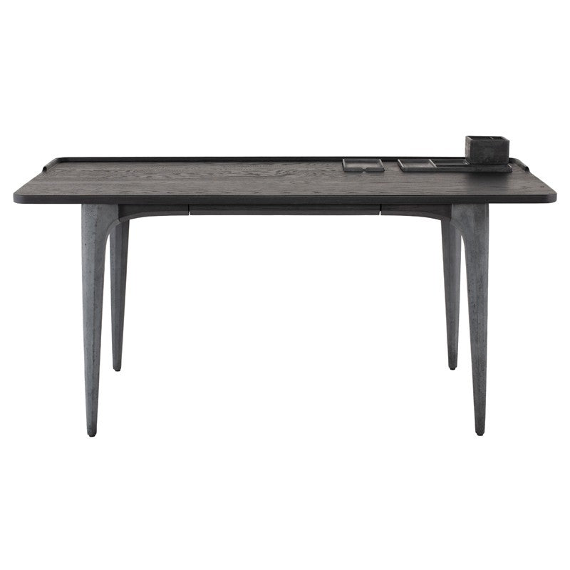 "63"" Sleek Charred Oak & Black Concrete Office Desk"