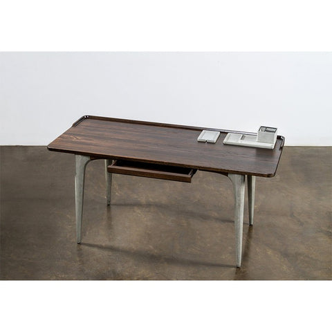 "63"" Sleek Seared Oak & Gray Concrete Office Desk"