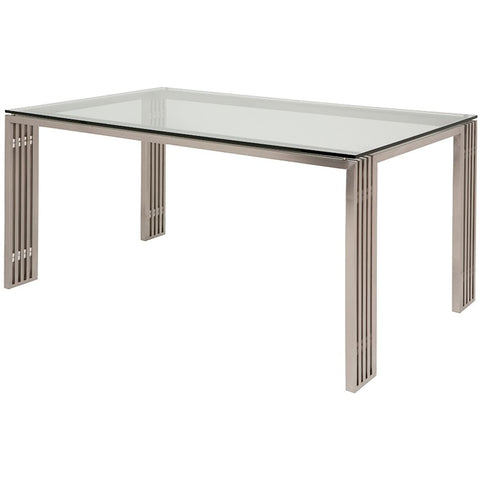 "Sophisticated 60"" Glass Executive Desk w/ Linear Brushed Steel Base"