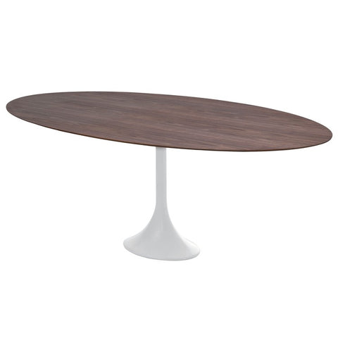 "77"" Walnut & White Oval Meeting Table"