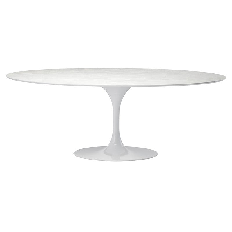 "77"" Modern White Oval Meeting Table"