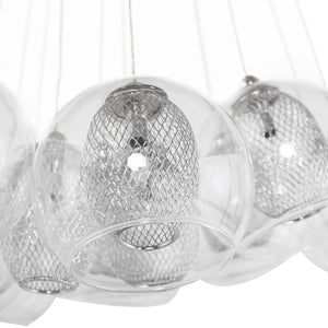 Elegant Pendant Light with Clear Glass Orb Shades and Intricate Frosted Globes