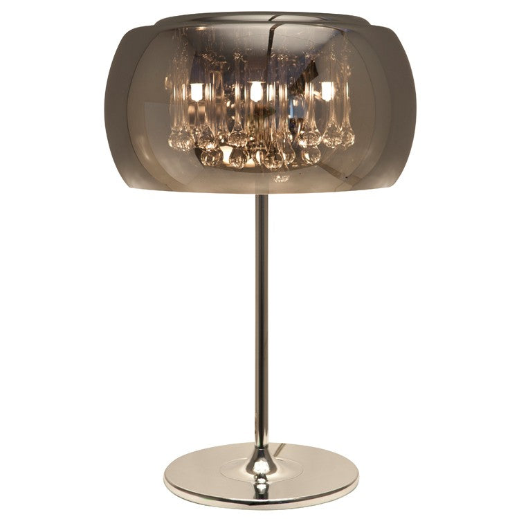 Striking Glass Table Lamp with Crystal Droplets