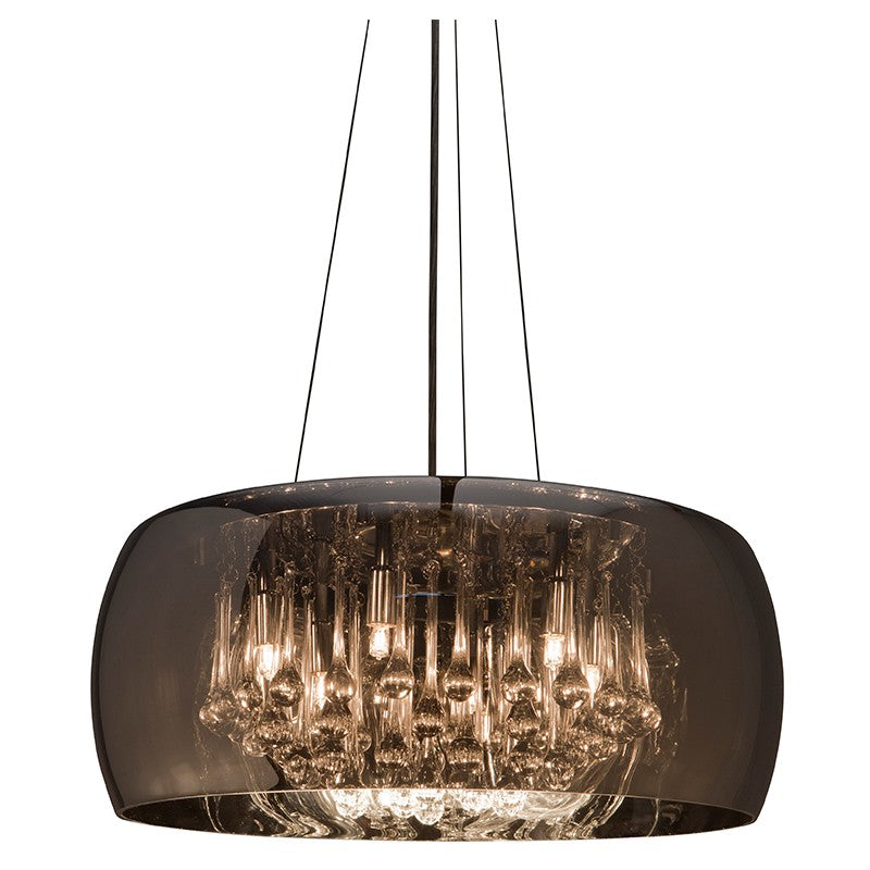 Striking Glass Pendant Light with Crystal Droplets