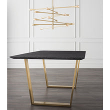 "Load image into Gallery viewer, Stunning 79"" Executive Desk w/ Black Marble & Gold-Brushed Stainless Steel"