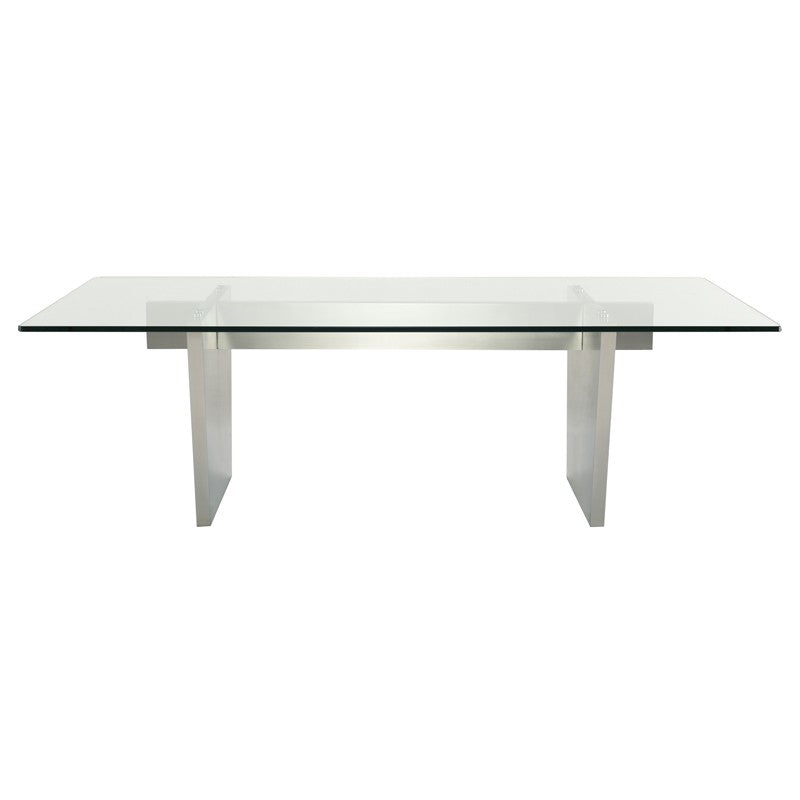 Clear Glass Top Conference Table w/ Stainless Steel Base