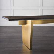 Load image into Gallery viewer, Stunning Seared Oak Conference Table w/ Brushed Gold Base (Multiple Sizes)