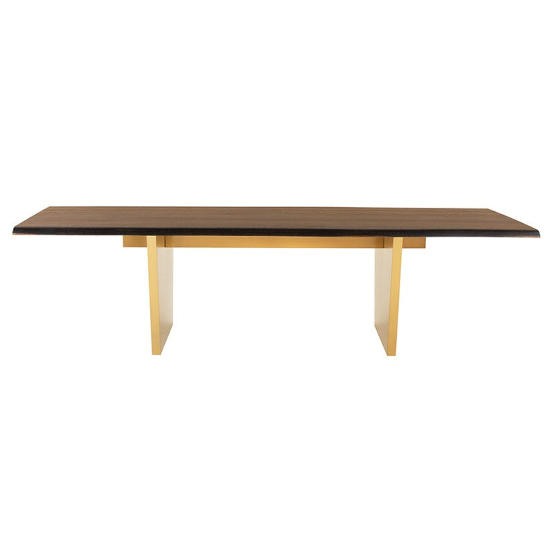 Stunning Seared Oak Conference Table w/ Brushed Gold Base (Multiple Sizes)