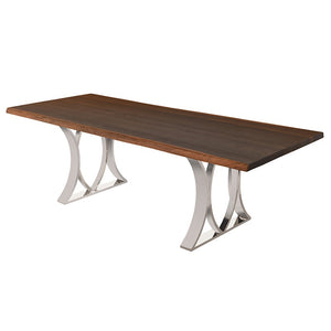 "Bold 96"" Conference Table in Seared Oak & Polished Steel"