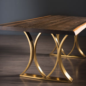 "Chic 78"" Executive Desk/ Meeting Table in Seared Oak & Gold"