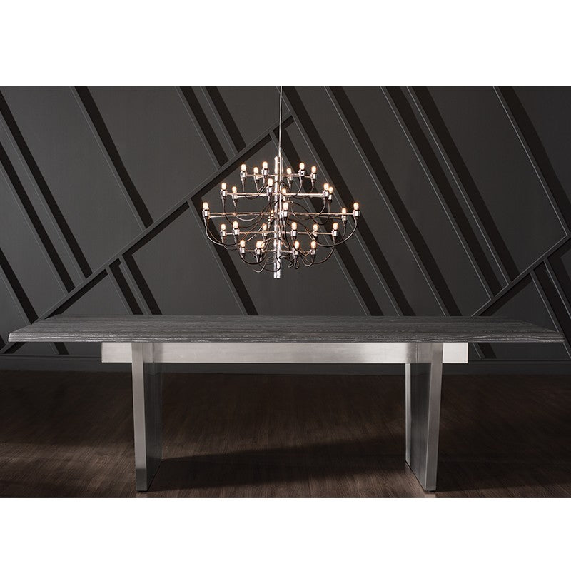 Stunning Oxidized Gray Oak Conference Table w/ Stainless Steel Base (Multiple Sizes)