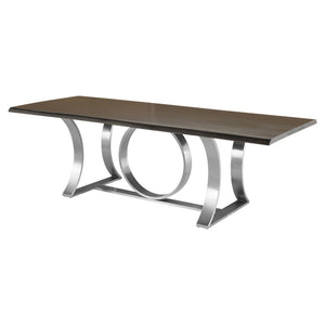 "78"" Chic Executive Desk or Conference Table in Seared Oak & Silver"
