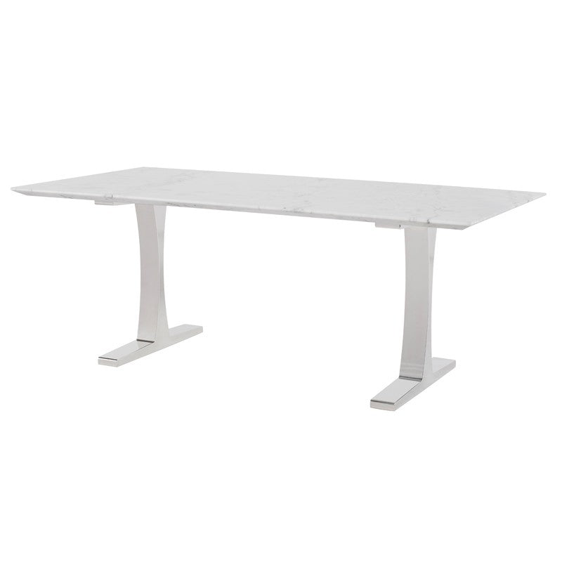 "Bold 78"" Executive Office Desk in Marble & Steel"