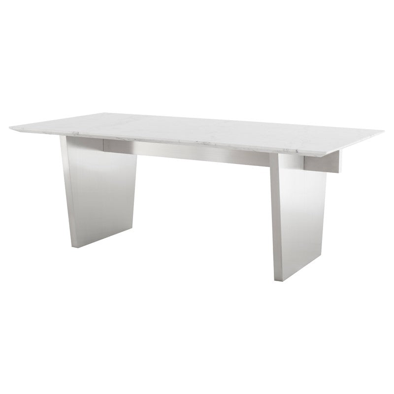 "Bold White Marble 78"" Executive Desk or Meeting Table w/ Stainless Steel Base"