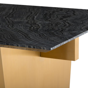 "Black Wood Grain 78"" Executive Desk or Meeting Table w/ Brushed Gold Base"