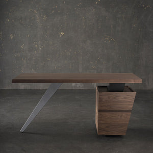 "Sophisticated & Compact 60"" Office Desk in Wood & Steel"