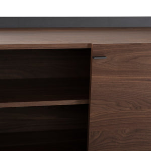 Contemporary Walnut Storage Credenza w/ Black Steel Wraparound
