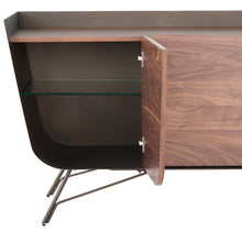 Load image into Gallery viewer, Walnut, Brass, & Glass Storage Credenza