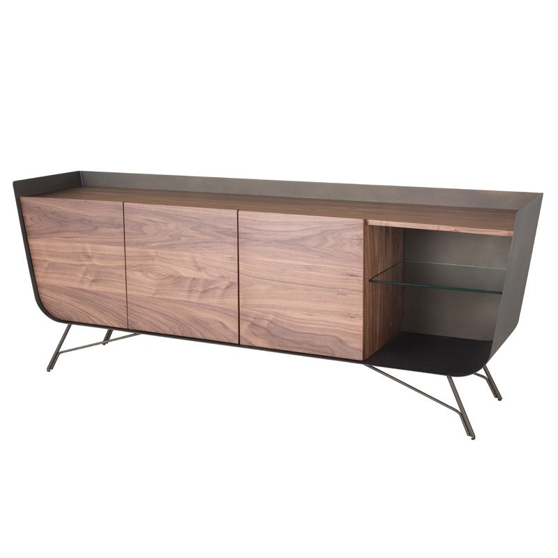 Walnut, Brass, & Glass Storage Credenza