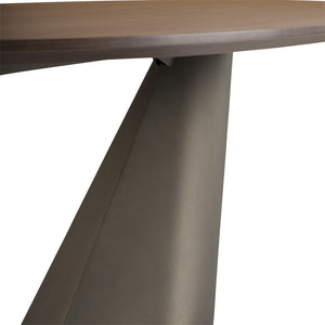 "Sophisticated 95"" Oval Walnut Conference Table w/ Bronze Base"