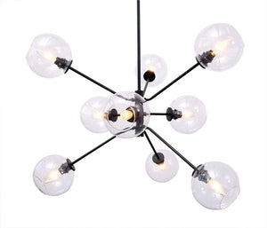 Contemporary Black Steel and Clear Glass Pendant Light