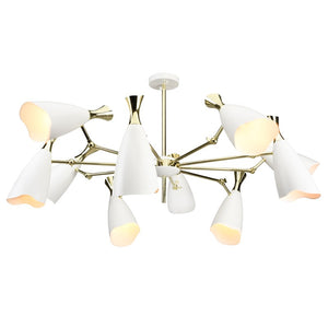 Adjustable Pendant Light in Matte White and Polished Gold
