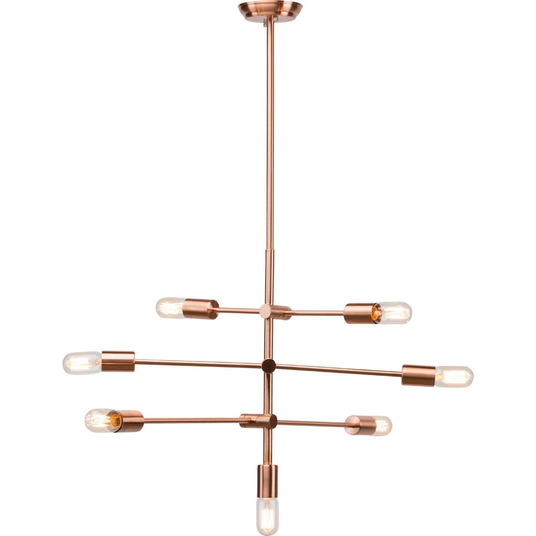 Sleek Matte and Brushed Copper Pendant Light with Adjustable Arms