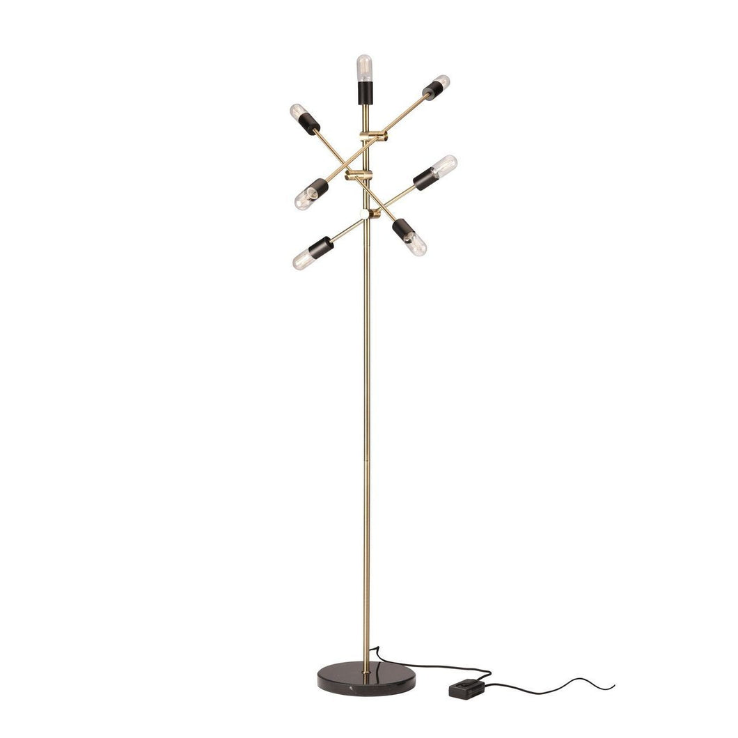 Antique Brass Floor Lamp with Black Marble Base