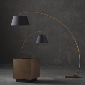 Walnut and Black Fabric Table Light with Curved Stem