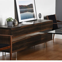 "Load image into Gallery viewer, 63"" Artistic Storage Credenza of Seared Oak w/ Horizontal Steel Inlay"