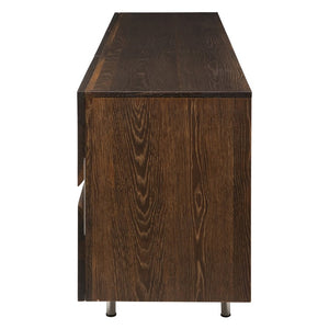 "78"" Artistic Storage Credenza of Seared Oak w/ Horizontal Steel Inlay"