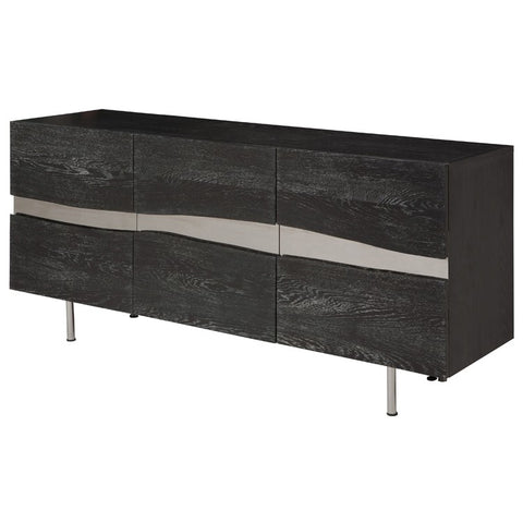"78"" Artistic Storage Credenza of Oxidized Oak w/ Horizontal Steel Inlay"