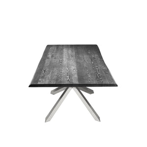 Chic Conference Table with Oxidized Grey Oak & Polished Steel