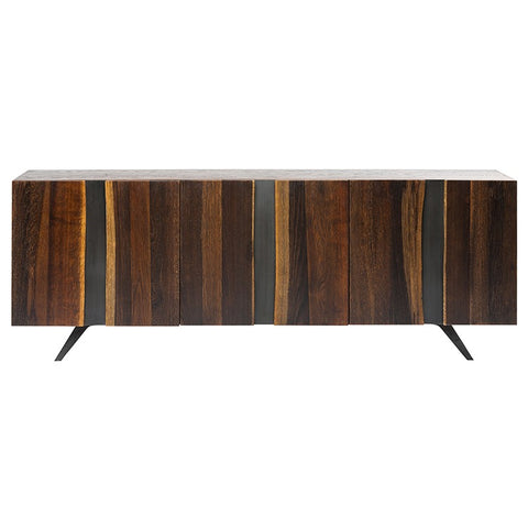 Eye-Catching White Oak Storage Credenza w/ Vertical Stripes